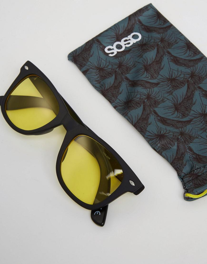 ASOS Denim Square Sunglasses In Black With Yellow Lens for Men