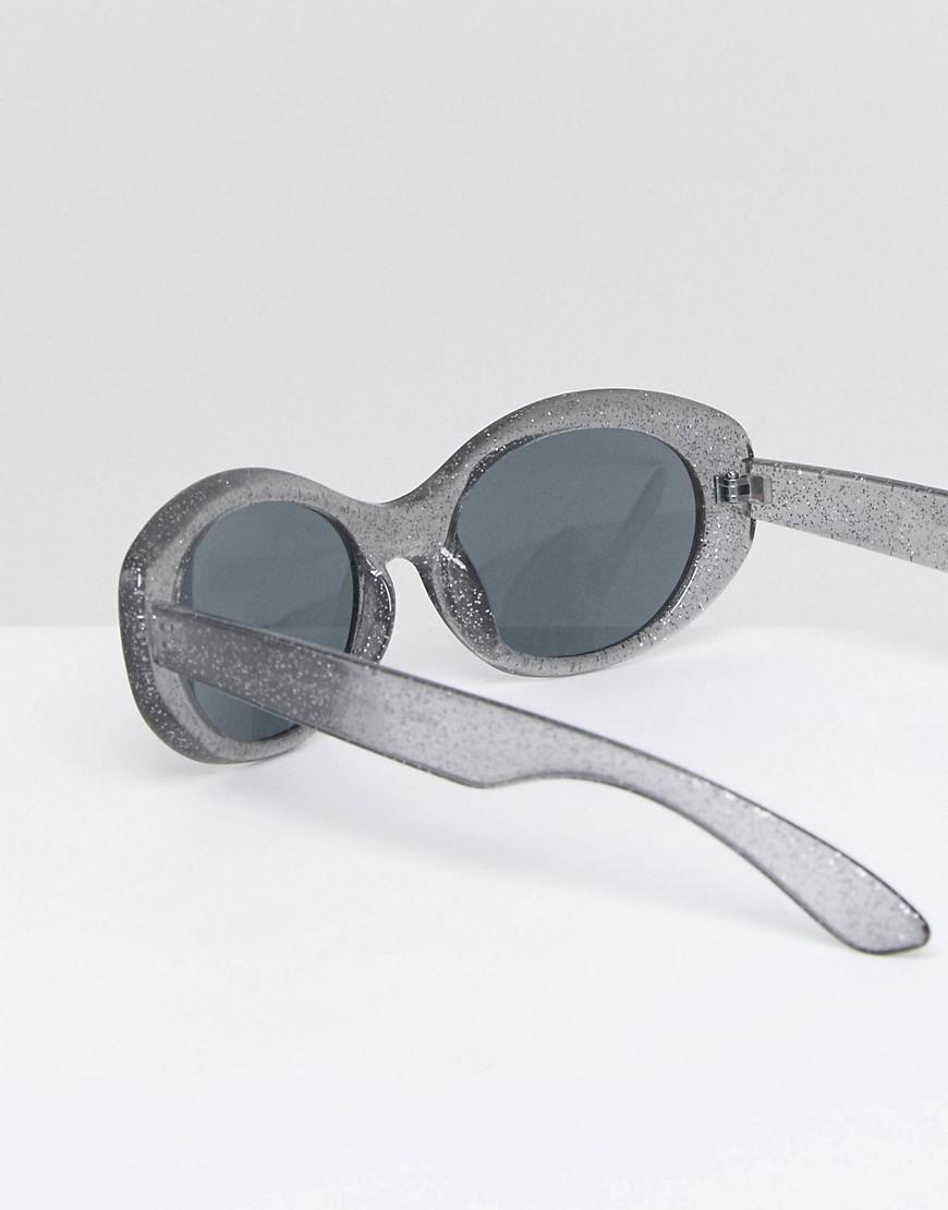 a86e796bc96 Lyst - ASOS Oval Sunglasses In Black Glitter Frame With Smoke Lens ...