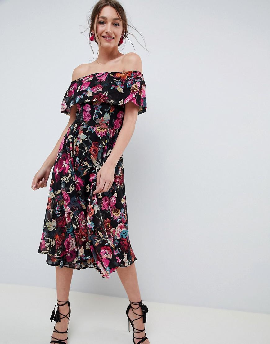 ASOS Bardot Midi Dress In Dark Based Floral - Lyst 2053481e8