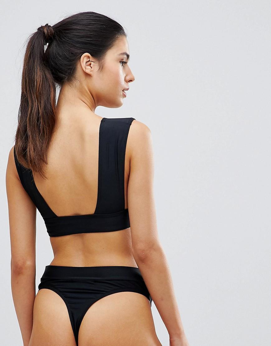 dd49e61d86d Missguided Mix And Match Super Plunge Bikini Top in Black - Lyst