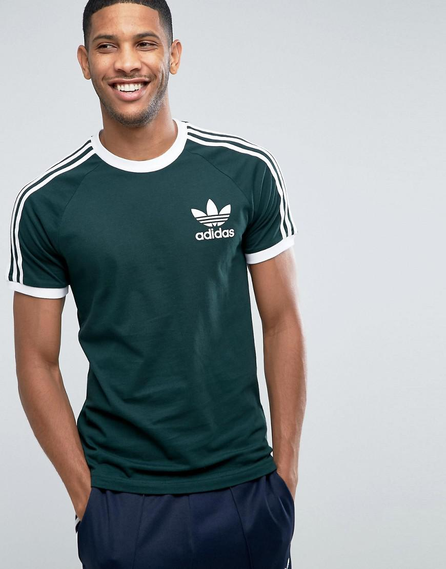 Lyst adidas originals california tee in green for men for Men s basketball t shirts