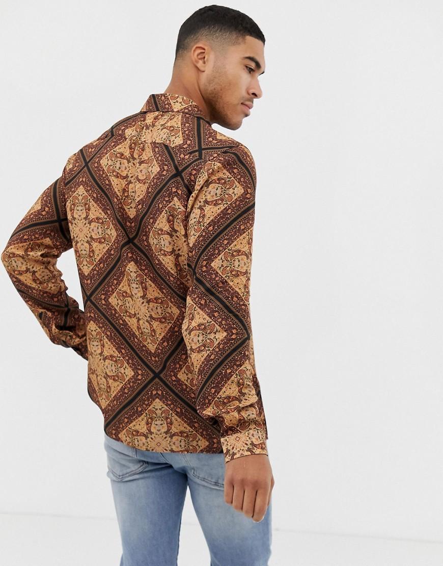 ASOS Synthetisch Regular-fit Paisley Overhemd in het Bruin voor heren