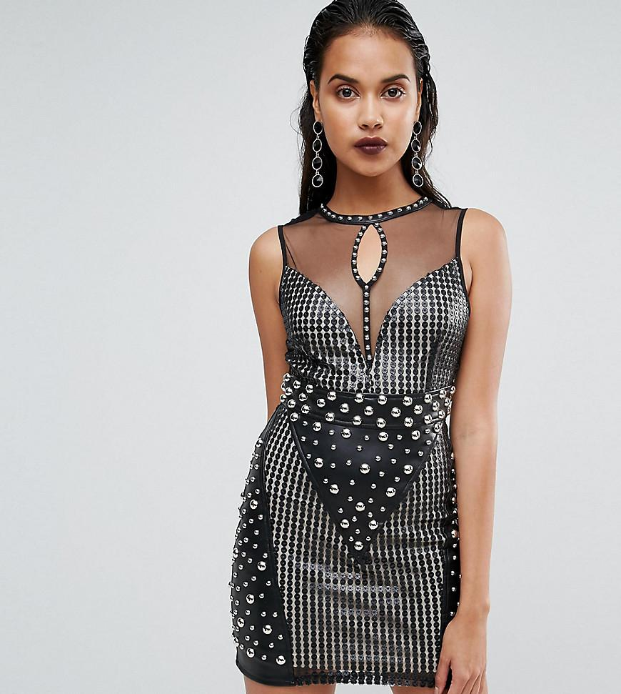 535d3eeff472a Boohoo Premium Sequin And Stud Sleeveless Dress in Black - Lyst