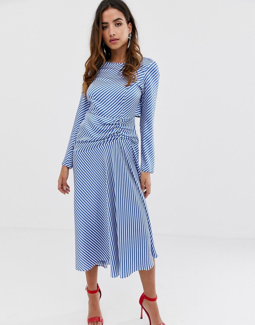 5bb3334f407 Lyst - ASOS Open Back Maxi Dress In Stripe in Blue