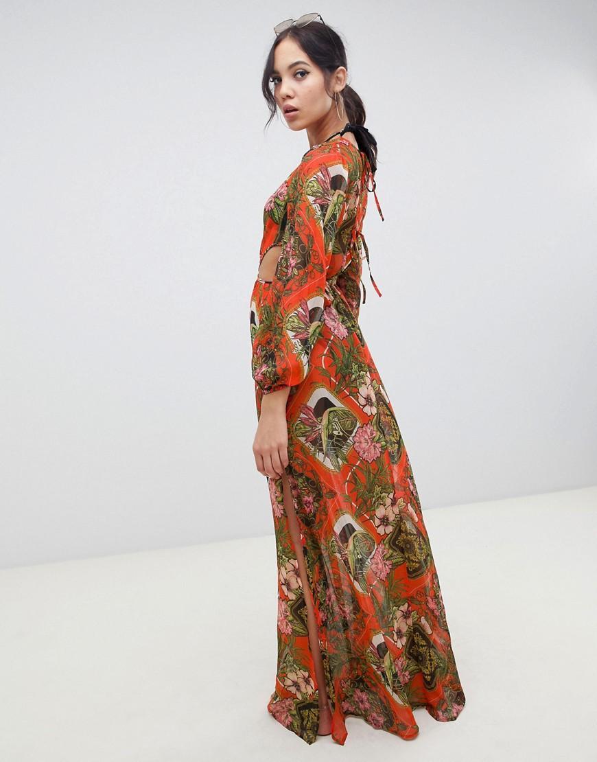 cacfa59ccde4 Vestido largo de playa glamuroso de manga larga de chifón con estampado  barroco tropical de mujer de color naranja
