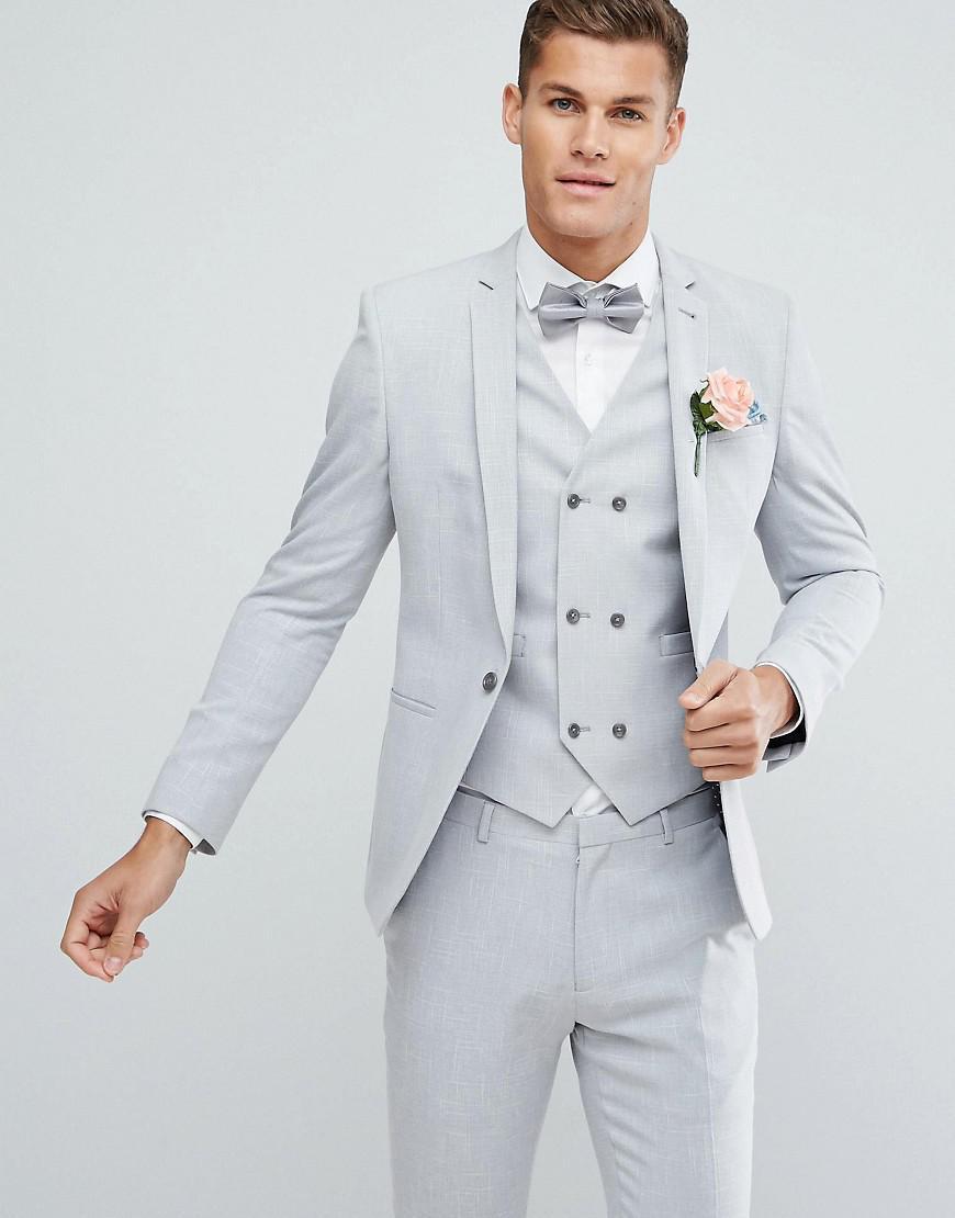 Lyst - Asos Wedding Skinny Suit Jacket In Ice Gray Cross Hatch ...