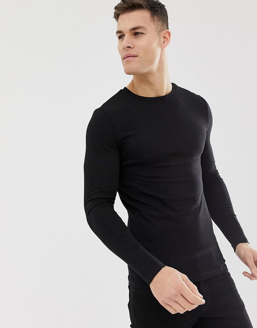 48f0d230da2 ASOS. Men s Organic Muscle Fit Long Sleeve Crew Neck T-shirt With Stretch  In Black