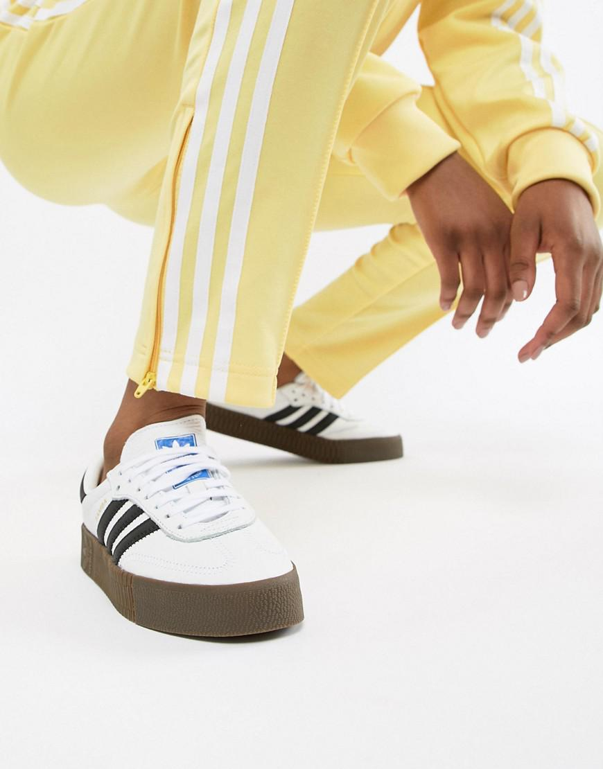 adidas originals samba rose sneakers in black with dark gum sole