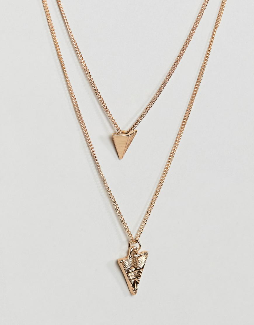 ASOS Double Layer Necklace With Arrow Head Pendants in Gold (Metallic) for Men