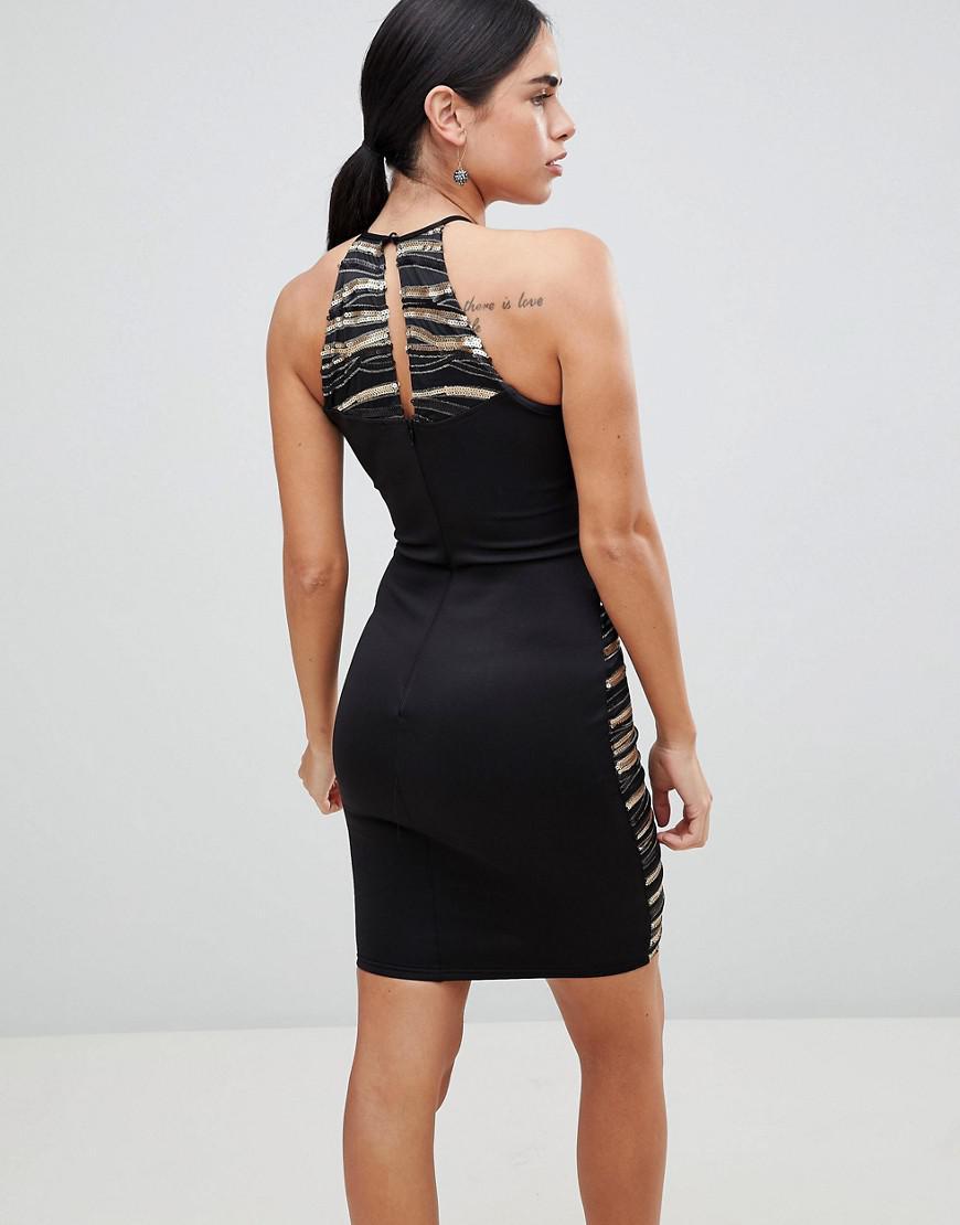 Lyst - AX Paris Metallic Mini Dress in Black d6f01b615
