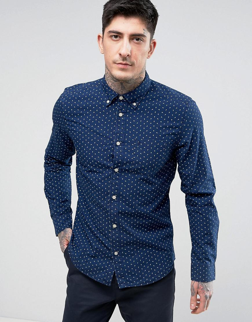 Lyst wrangler button down slim fit shirt mini palm print for Athletic fit button down shirts