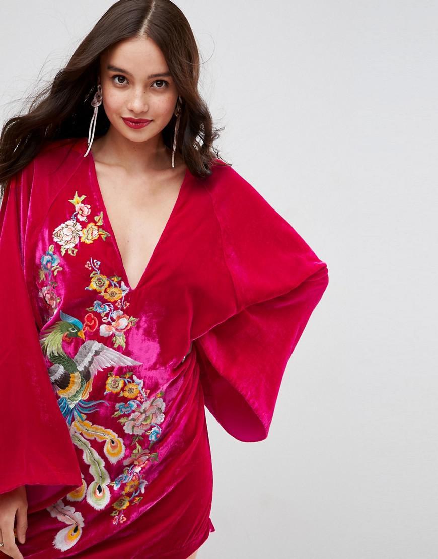 7e45003092a05 ASOS Pink Embroidered Velvet Kimono Mini Dress