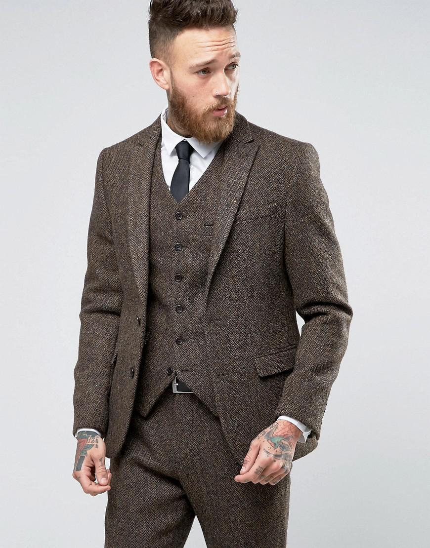 Asos Slim Suit Jacket In Brown Harris Tweed Herringbone ...