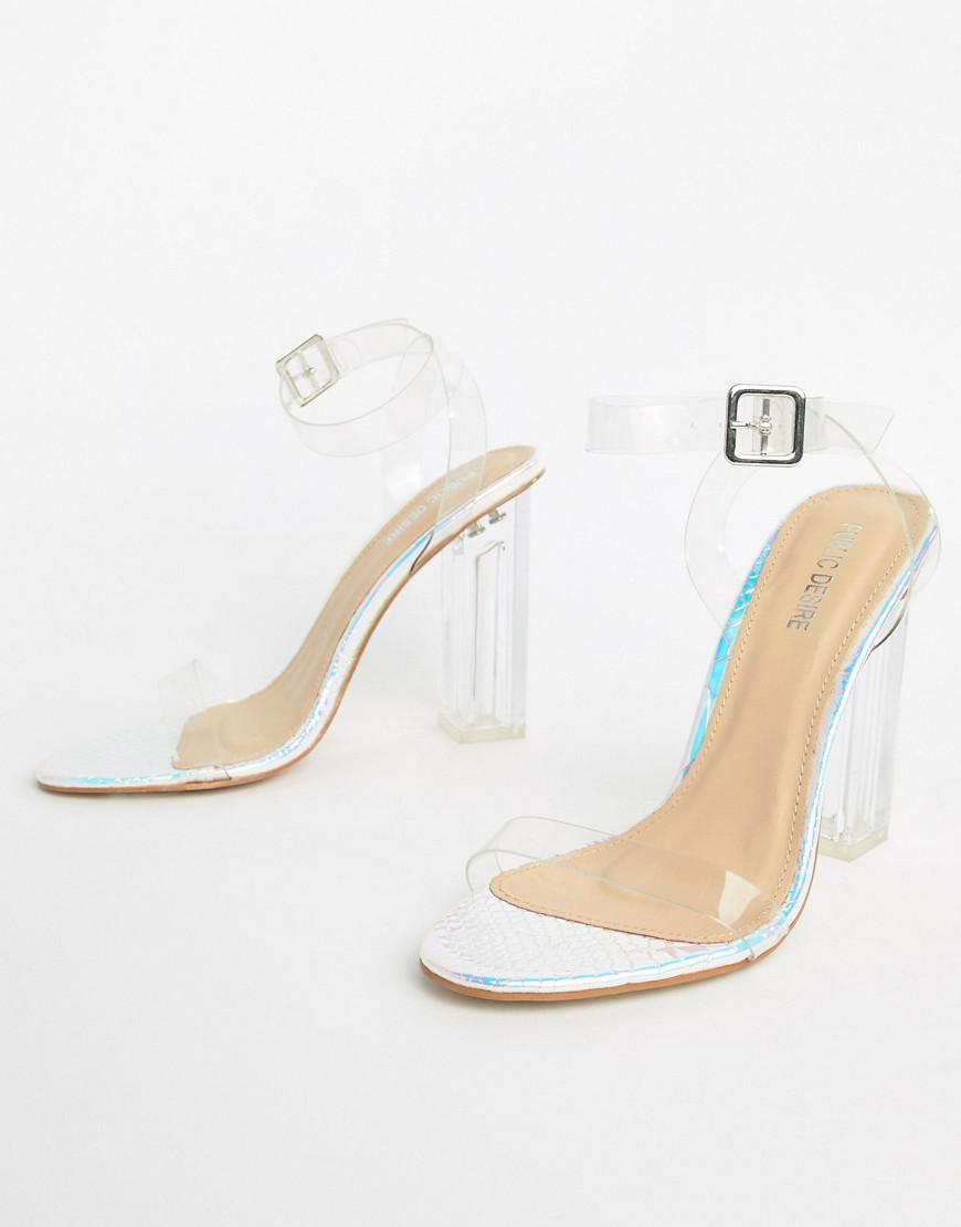 78eb399968fe Lyst - Public Desire Alia Iridescent Clear Heeled Sandals