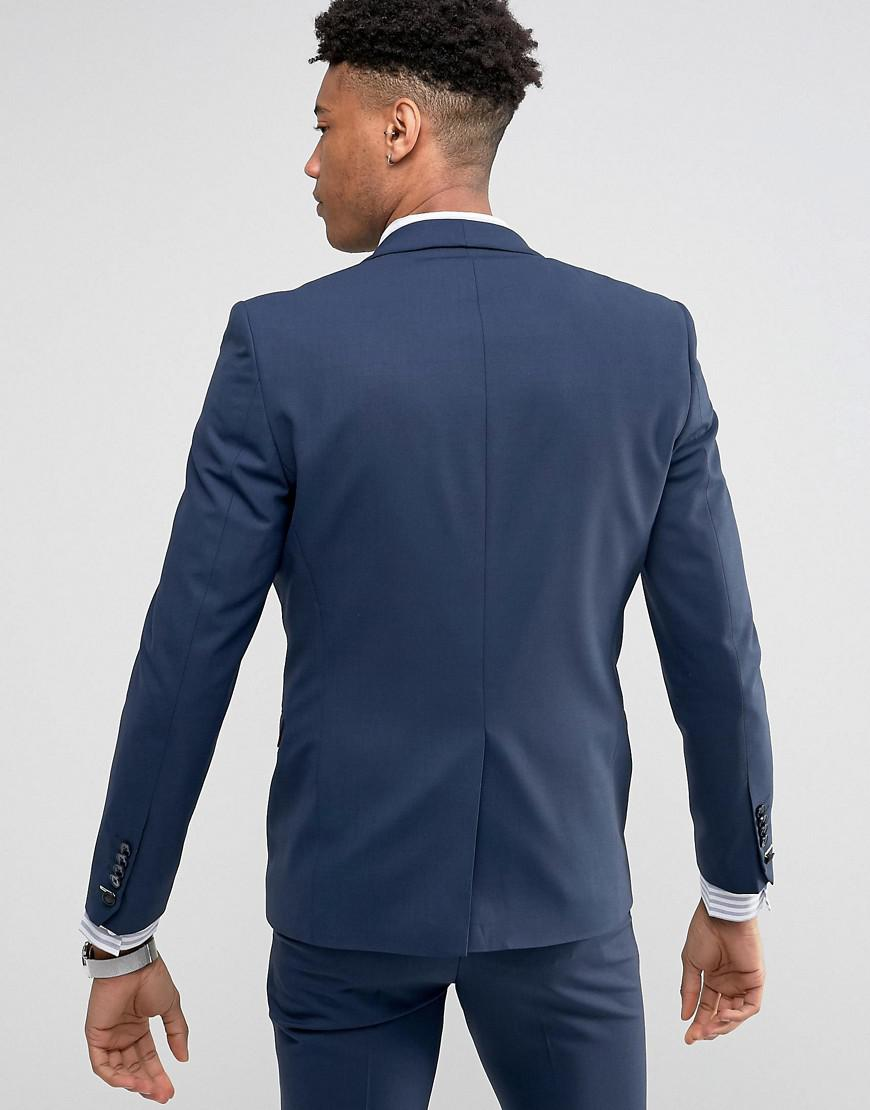Noose And Monkey Synthetic Tall Super Skinny Suit Jacket in Navy (Blue) for Men