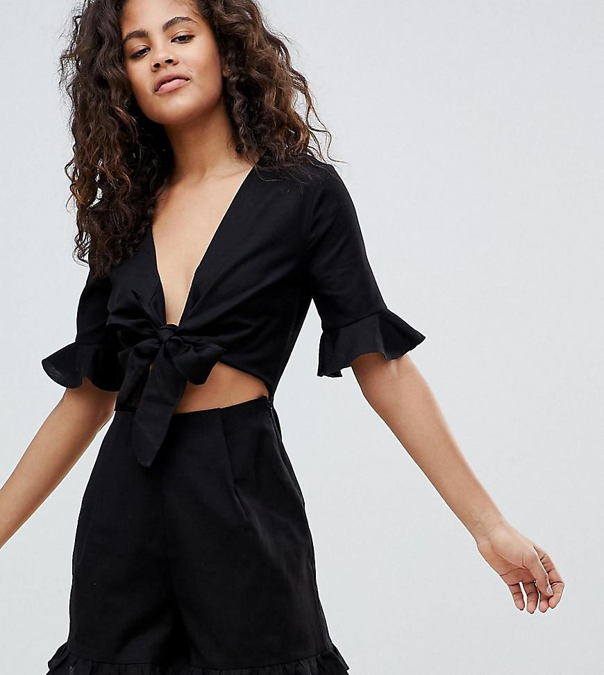 279c9d62795 ASOS Asos Design Tall Romper With Cut Out And Tie Detail In Linen in ...