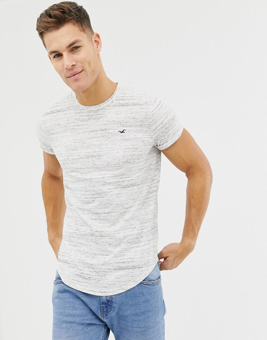 9902ecdceb44 Hollister Curved Hem Icon Logo T-shirt In White Marl in White for ...