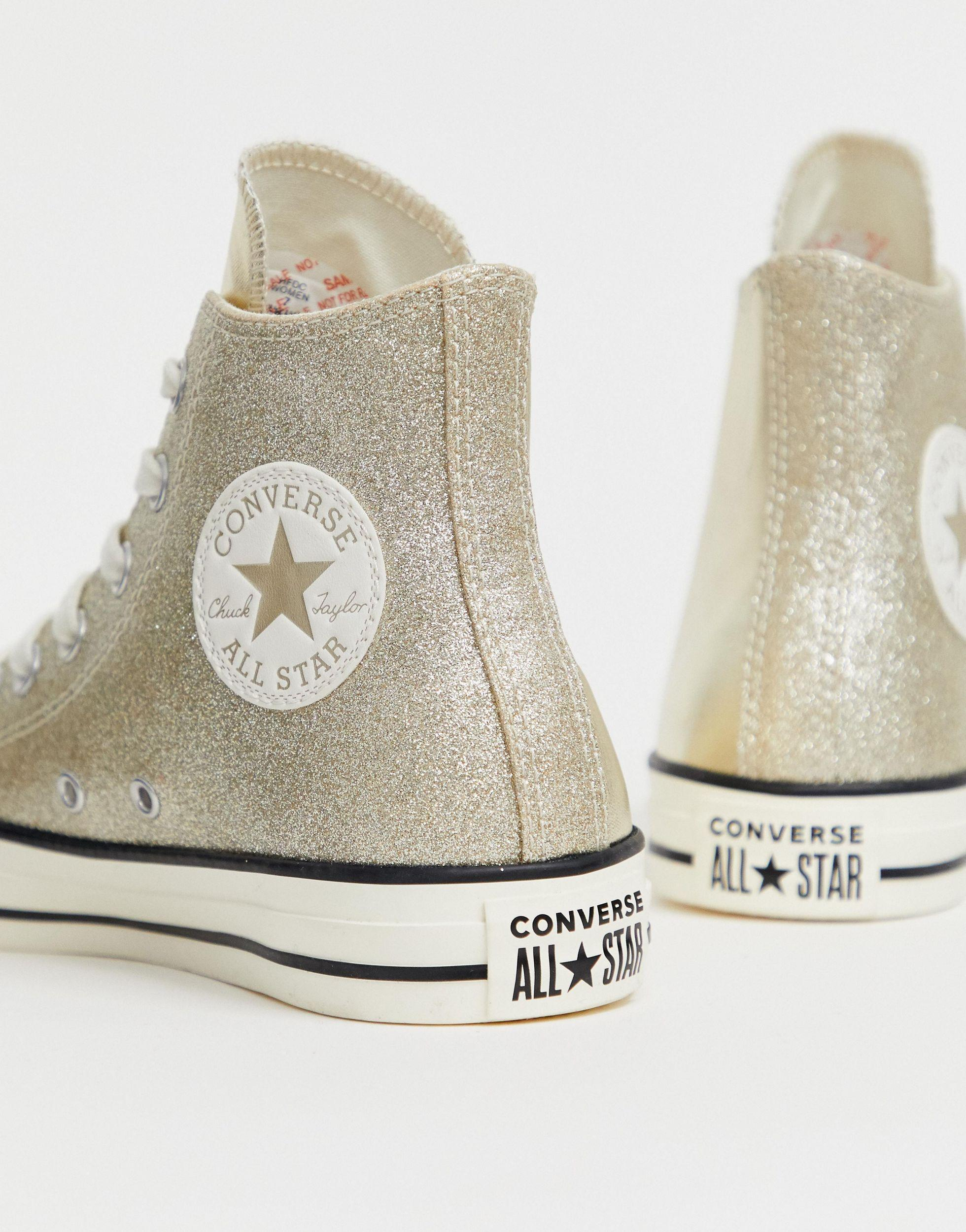Converse Chuck Taylor All Star Hi Gold Glitter Trainers in ...