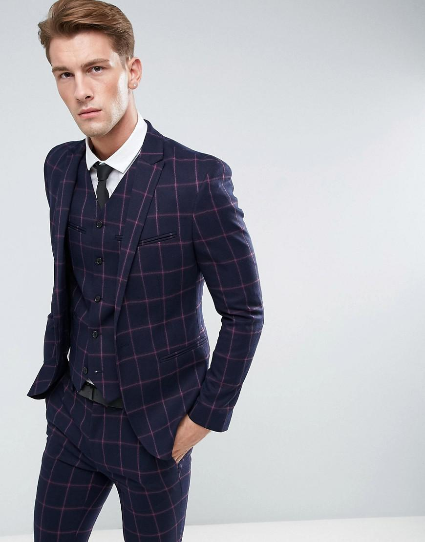 75d363347 Men's Blue Asos Super Skinny Suit Jacket In Navy And Pink Windowpane Check