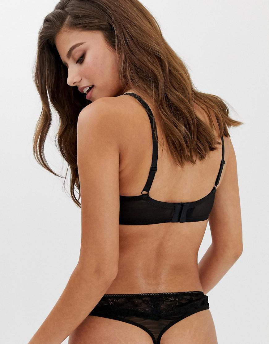6455cb8b45 Wolf   Whistle Fuller Bust Exposed Wire Lace And Mesh Detal Bra In Black in  Black - Lyst