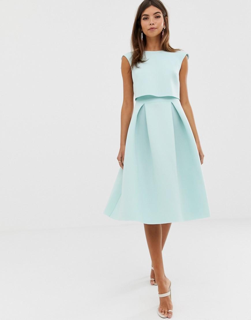 9eaba98aa48b0 ASOS - Green Fold Back Crop Top Midi Prom Dress - Lyst. View fullscreen