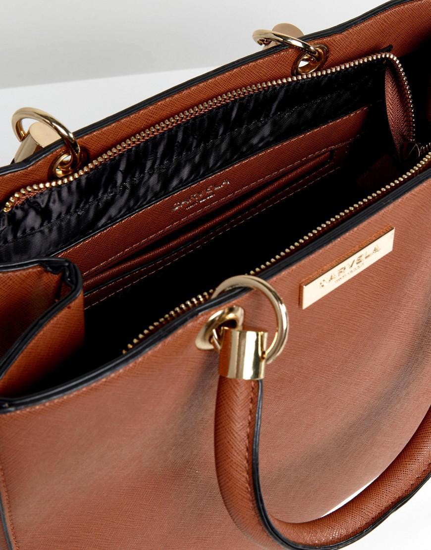 Carvela Kurt Geiger Darla Structured Tote Bag in Tan (Brown)