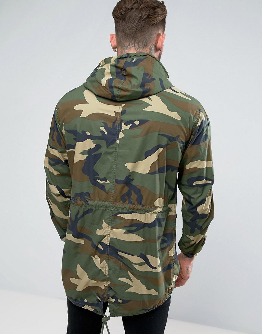 Pull&bear Lightweight Parka Jacket In Camo in Green for Men | Lyst