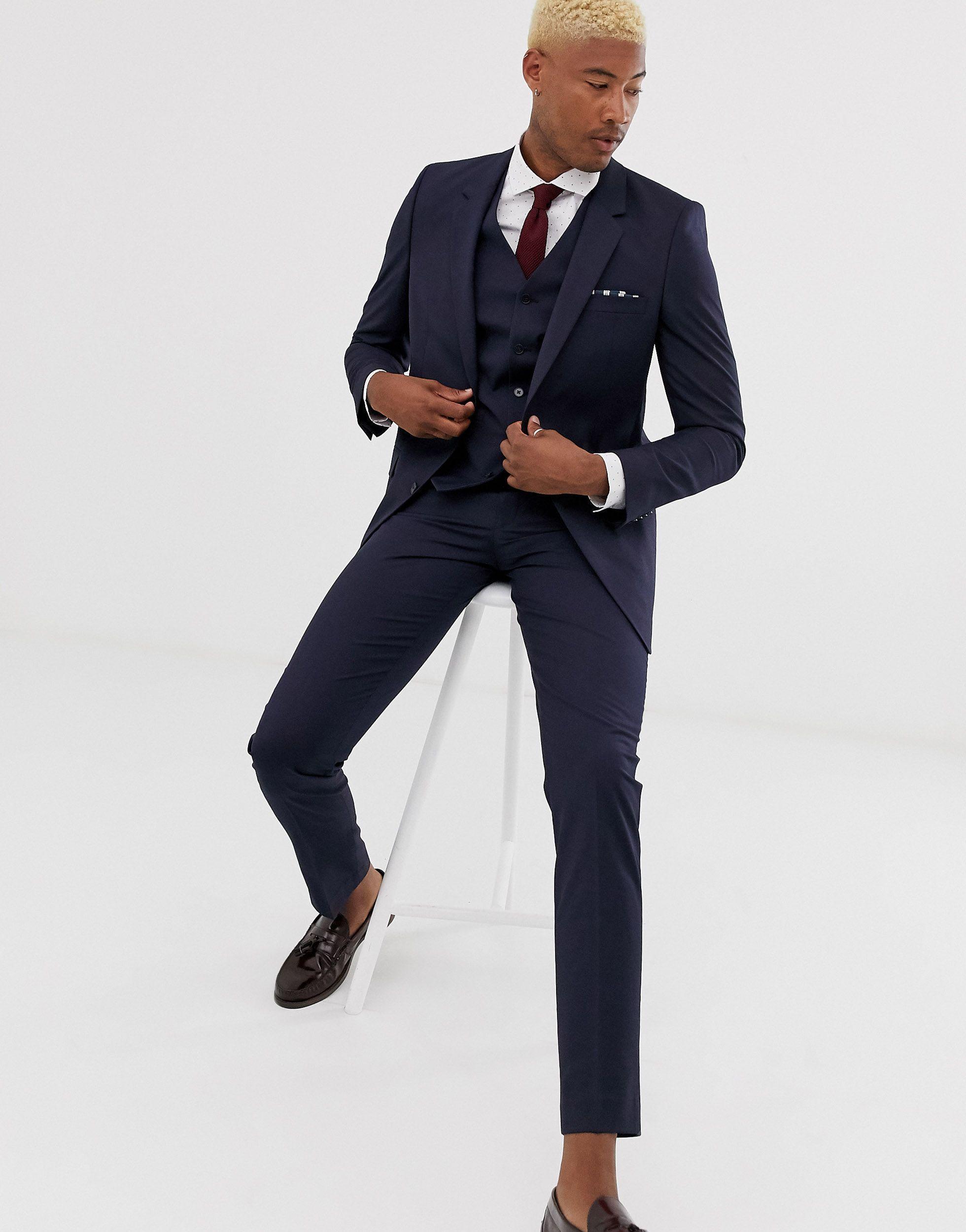 ASOS Synthetisch Tall - Smalle Pantalon in het Blauw voor heren