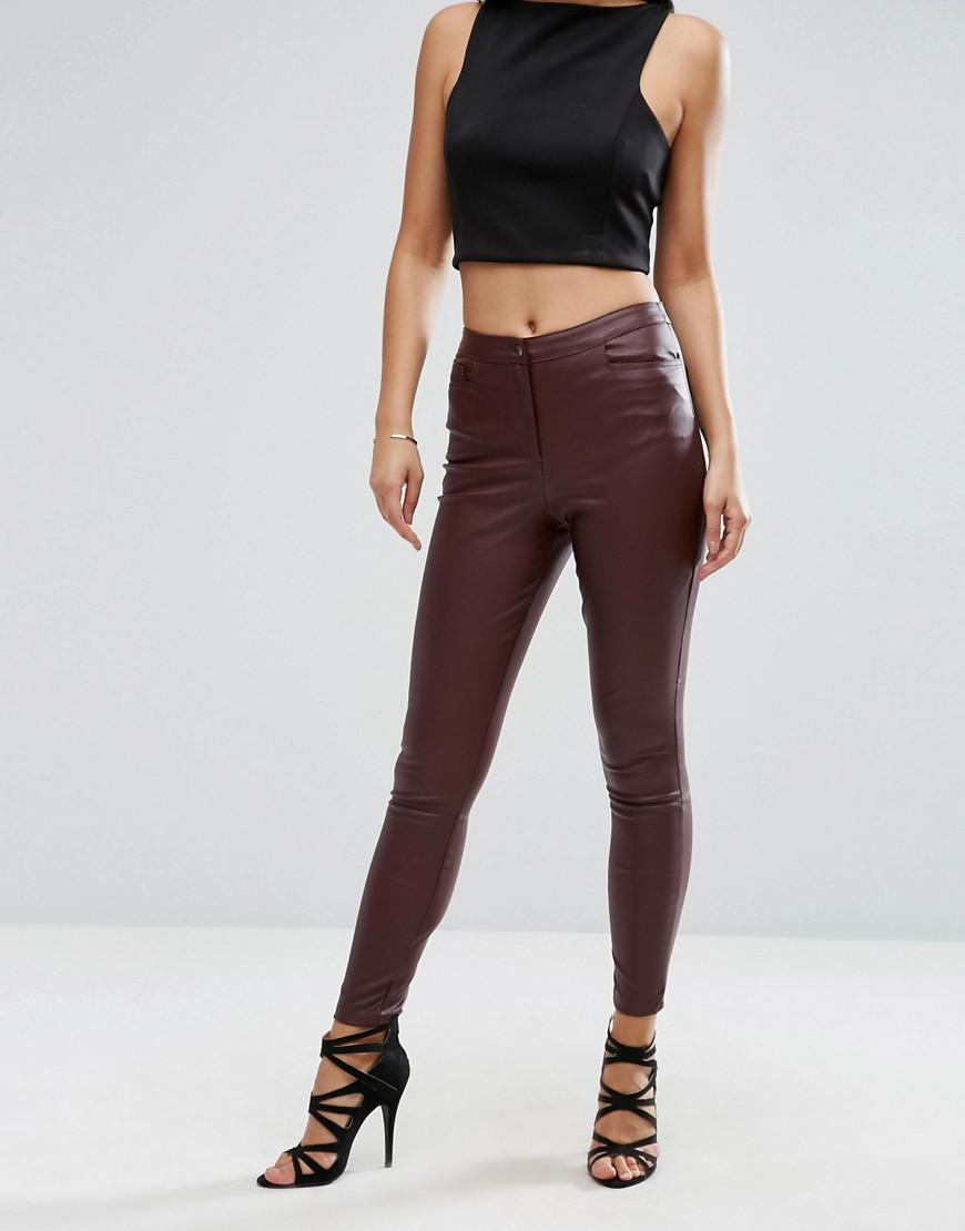 690b746e6d0de7 ASOS Leather Look Stretch Skinny Pants - Lyst