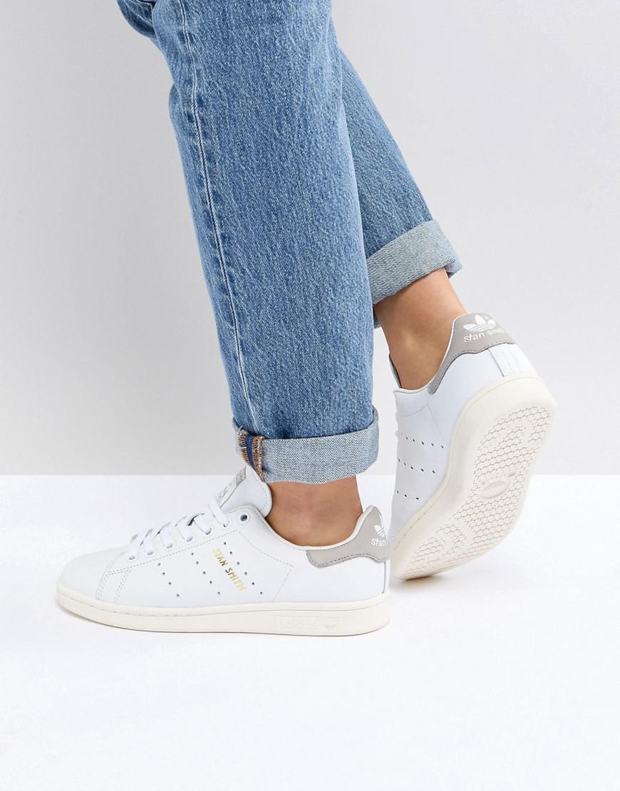 lyst adidas originals originals white and gray stan smith sneakers in white. Black Bedroom Furniture Sets. Home Design Ideas