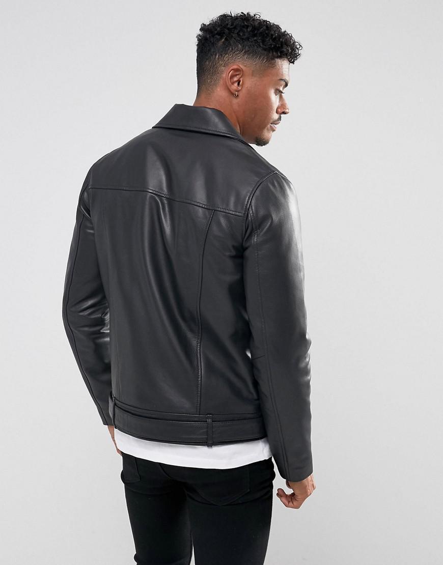 b5c8f3392251f Lyst - ASOS Leather Biker Jacket With Belt In Black in Black for Men