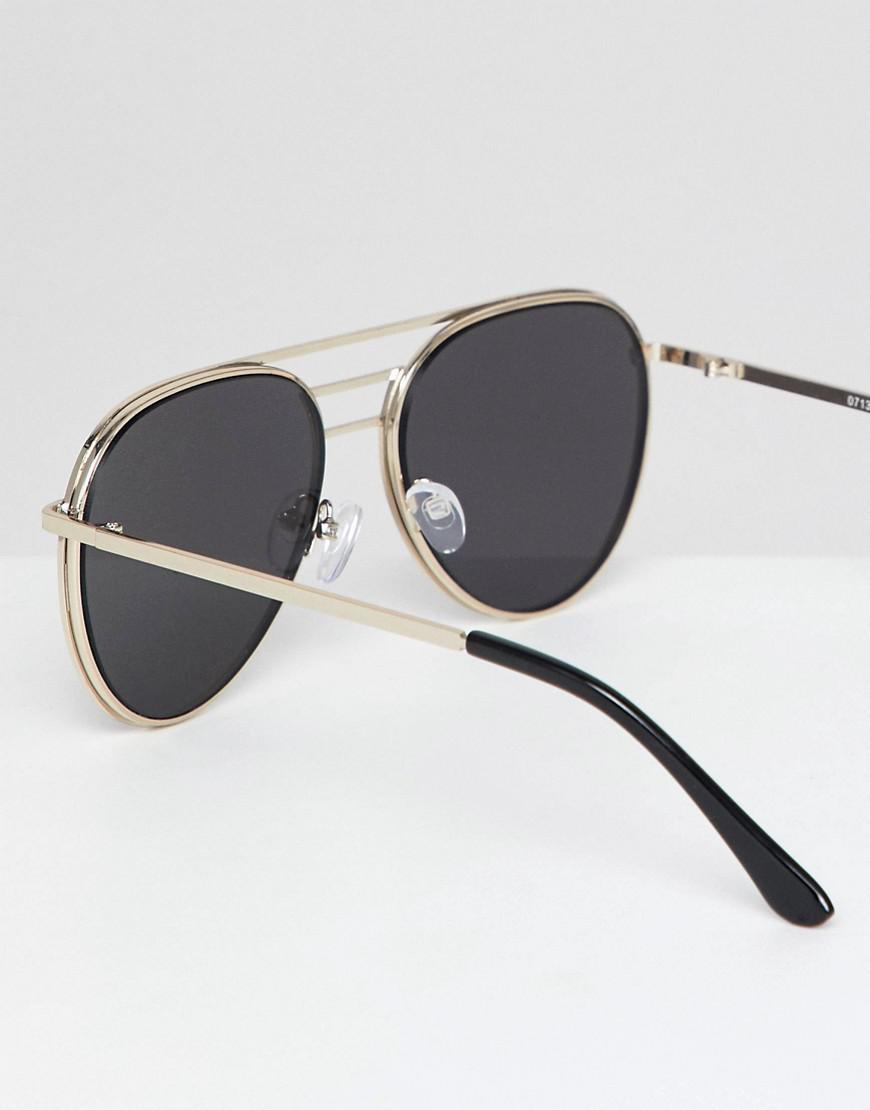 2600de5518 Lyst - ASOS Design Aviator Sunglasses In Gold Metal With Mesh Metal ...