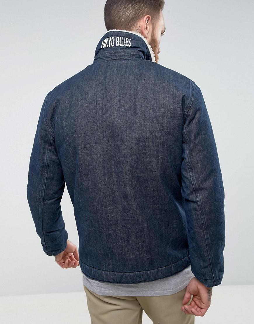 0c4593170fe Edwin Blue Borg Denim Deck Jacket for men