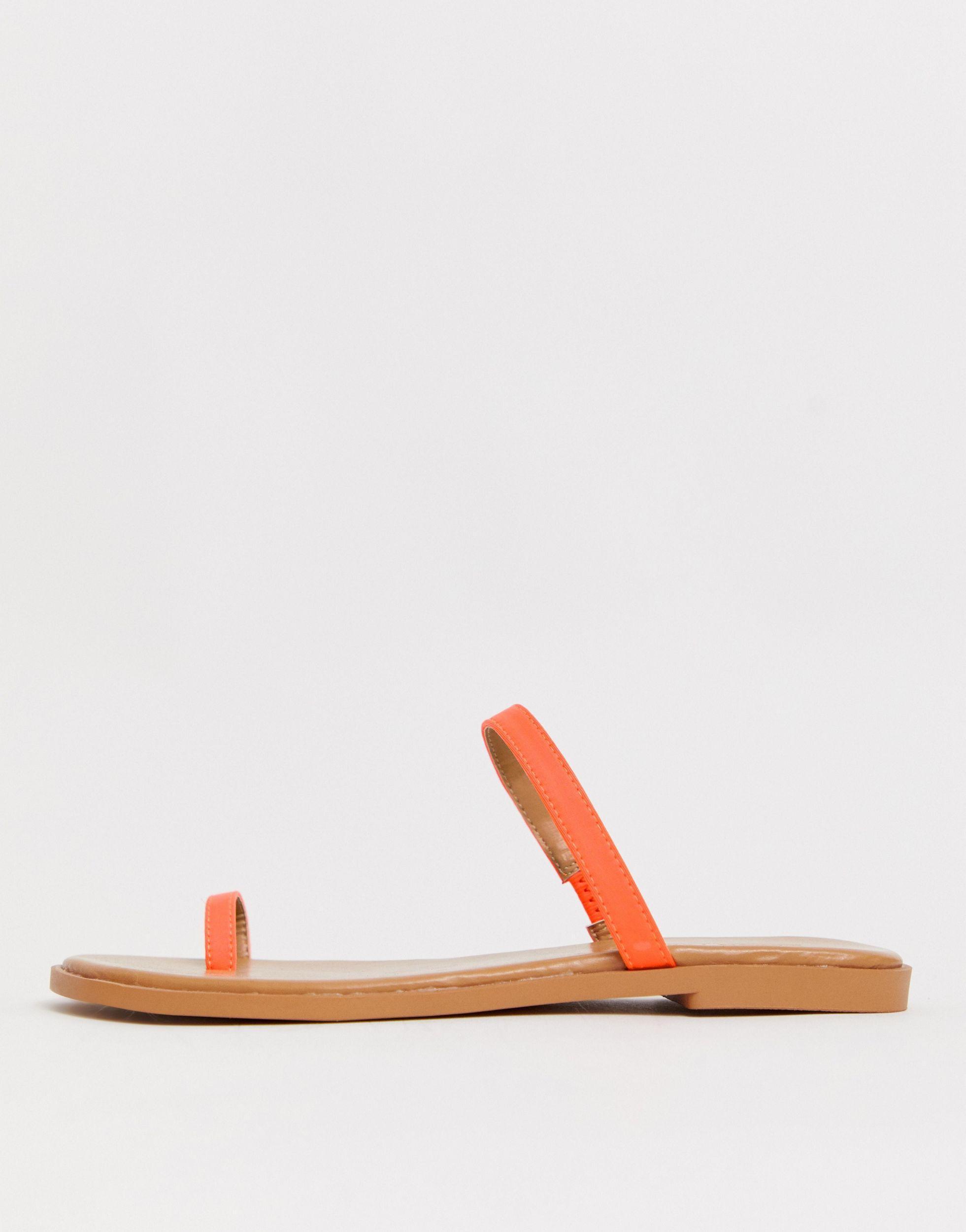 Freedom - Sandales plates avec boucle à l'orteil - fluo ASOS en coloris Orange