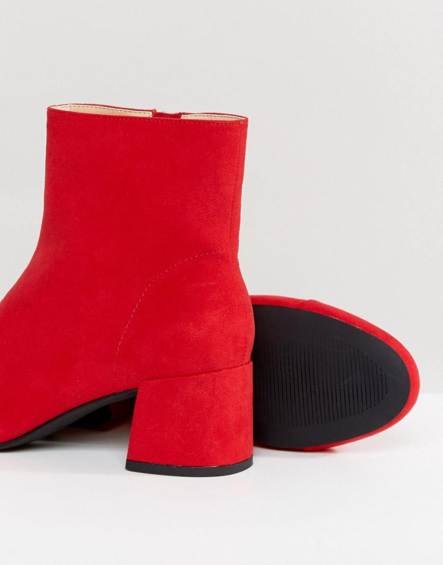Miss Selfridge Mid Heeled Ankle Boot in Red