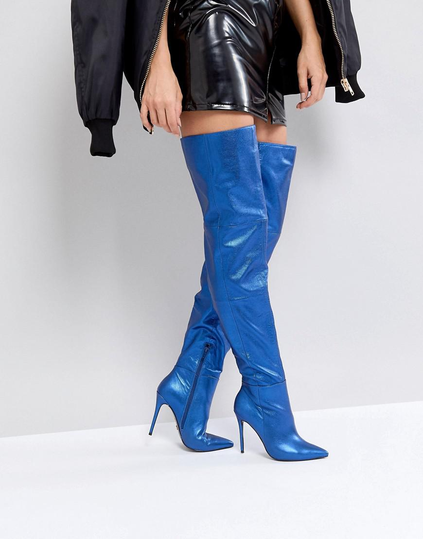 Leather Heeled Knee High Boots