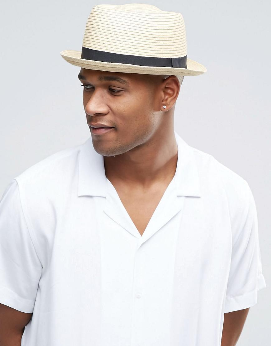 c29e66268f3 Lyst - ASOS Straw Pork Pie Hat In Beige in Natural for Men
