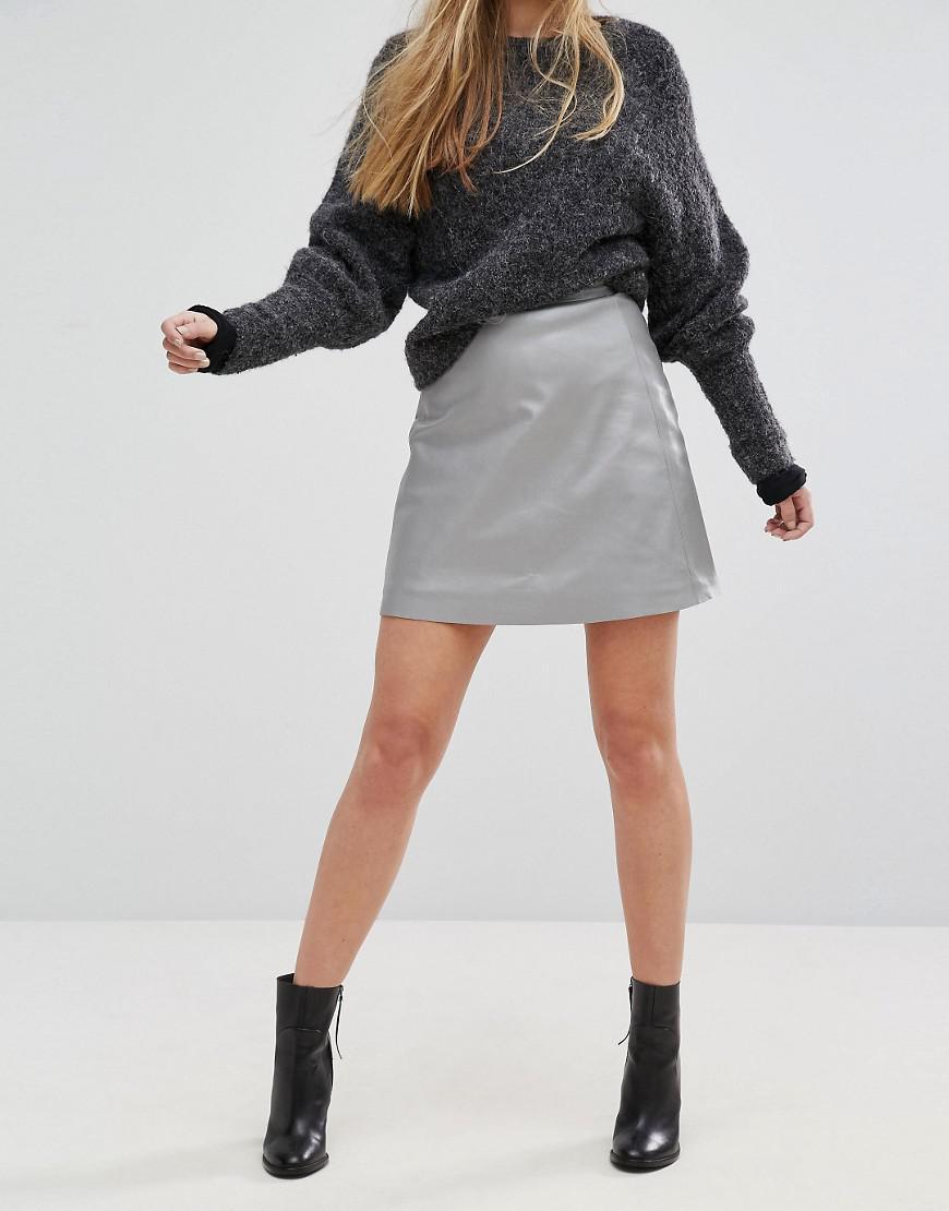 9428bff38 Muubaa Pannala Leather A-line Skirt in Metallic - Lyst