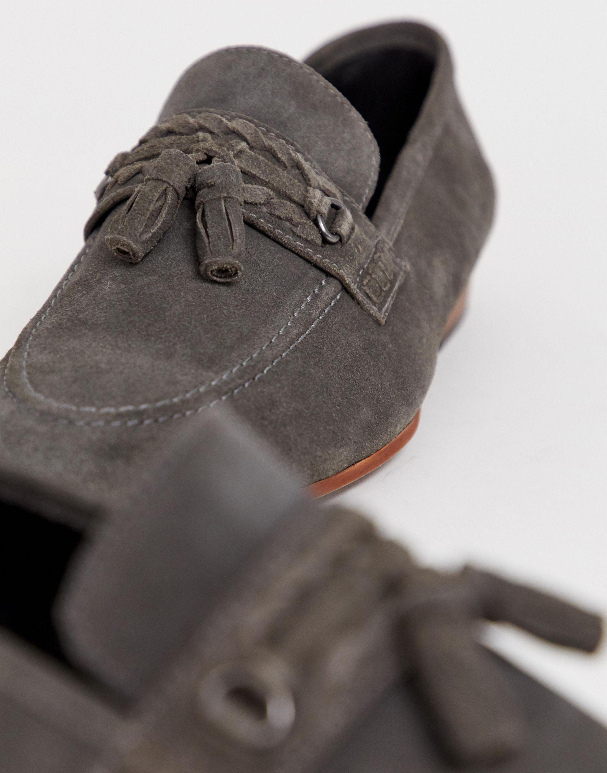 Mocasines de ante gris con borlas y suela color natural de ASOS de hombre de color Gris