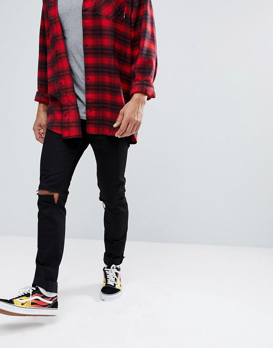 3a650e8082e Cheap Monday - Skinny Jeans In Black With Knee Rips for Men - Lyst. View  fullscreen