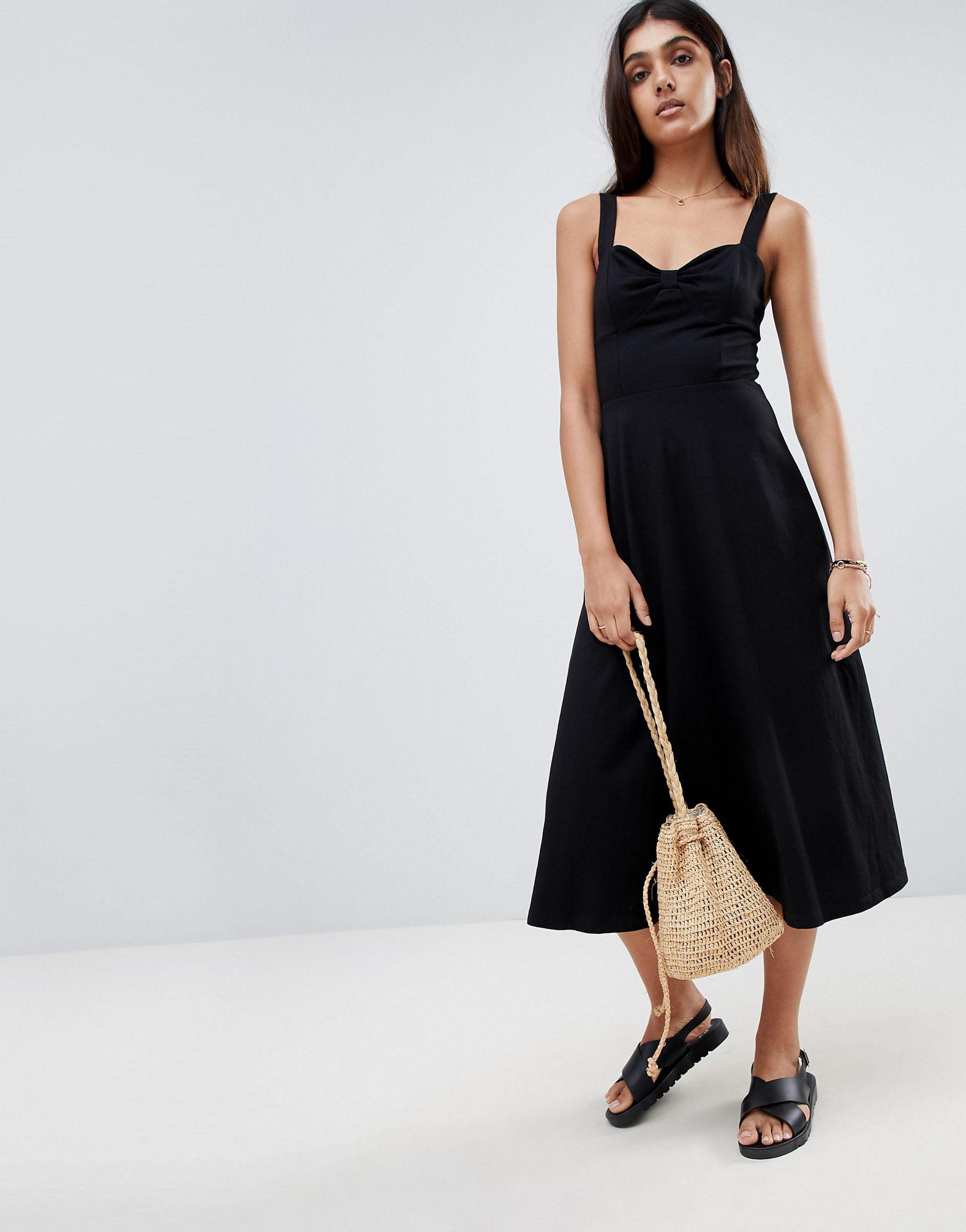 Robe d'été mi-longue en coton avec maintien incorporé Coton ASOS en coloris Noir