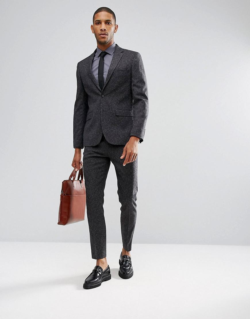 Moss Bros Moss London Skinny Suit Pants In Fleck in Grey (Grey) for Men