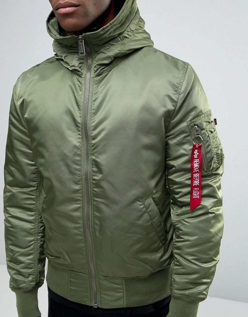 Alpha Industries Ma-1 Bomber Jacket With Hood In Regular Fit Sage Green for Men