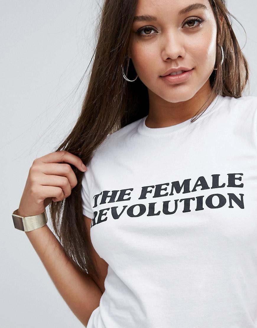 4c0d1d9b6d2 Boohoo White The Female Revolution Slogan T-shirt