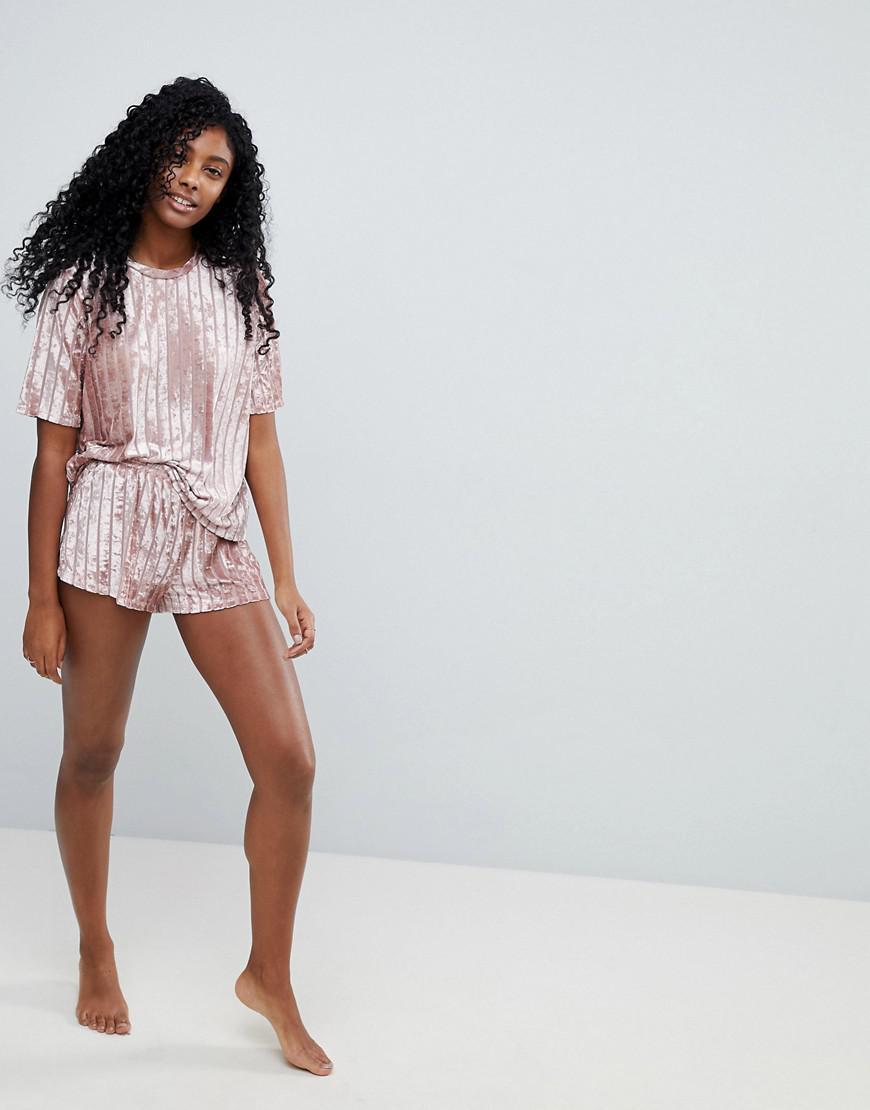 5c94eb941c4 ASOS Velvet Burnout Self Stripe Tee & Short Pyjama Set in Pink - Lyst