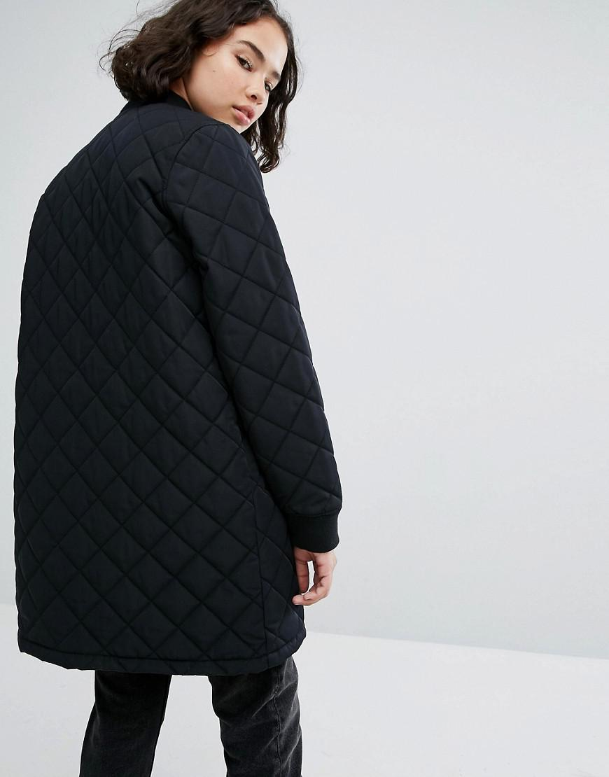 e6c66551 Vans Synthetic Boom Boom Longline Quilted Coat in Black - Lyst