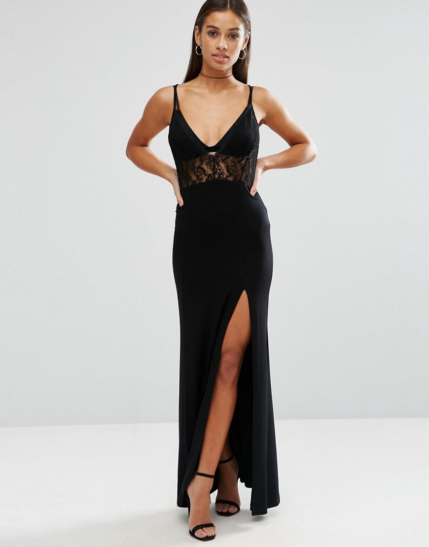 Lyst - Asos Lingerie Lace Top Maxi Dress in Black