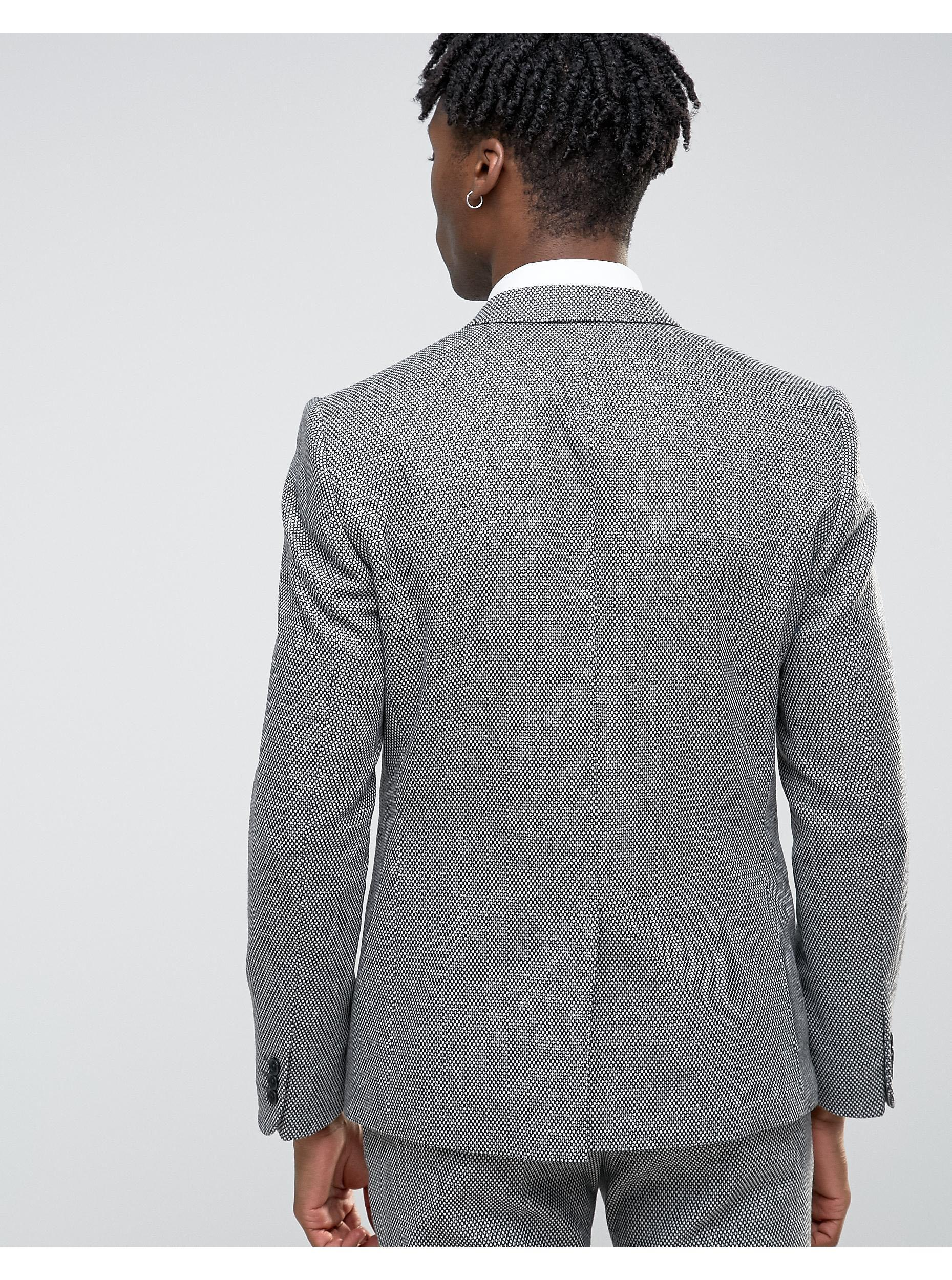 Noak Wool Slim Suit Jacket in Black for Men