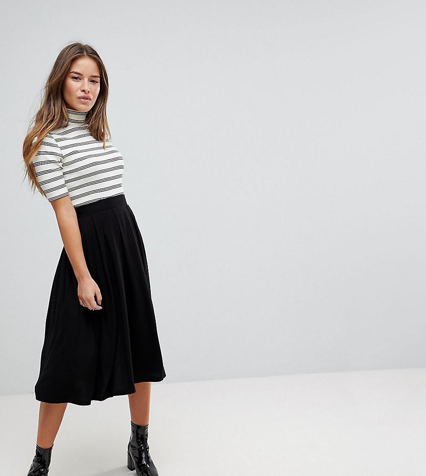 9297d4c1f5 ASOS Asos Design Petite Midi Skirt With Box Pleats in Black - Lyst