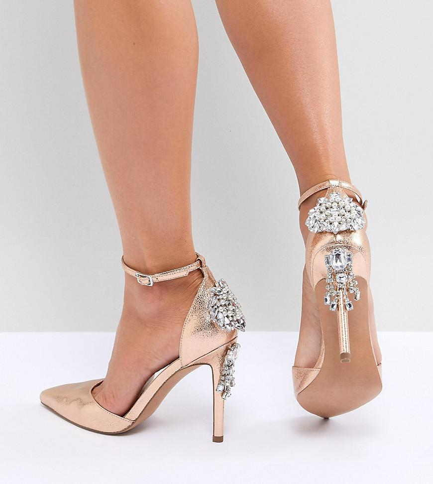 c79016103ba7 Lyst - ASOS Plaza Embellished High Heels in Metallic